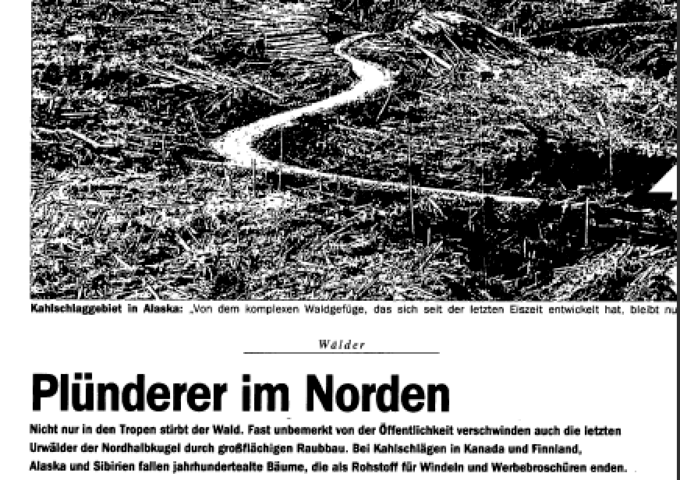 Svenskt skogsbruk blev en internationell fråga sedan den tyska tidningen Der Spiegel hade en starkt kritisk artikel om skogsbruk. Trots att udden främst var riktad mot Kanada och Finland blev den i Sverige startskottet för en process som fem år sedan ledde fram till att flera skogsbolag miljöcertifierade sig.