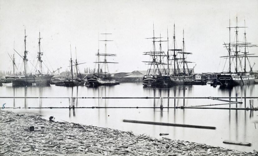 Virke blev under 1800-talet Sveriges viktigaste exportprodukt. Wifstavarfs sågverk 1870. Bildhotellet, SCA.