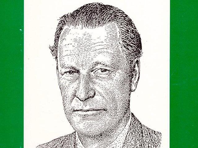 Erik Höjer, teckning av Erik Hermansson i Domänposten 1958.