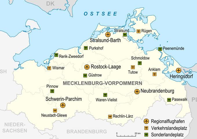 Karta över Mecklenburg-Vorpommern