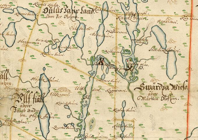 Jonas Persson Geddas karta över Ume lappmark 1671.