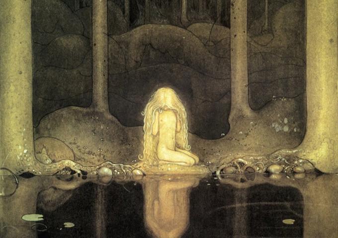 Utsnitt ur John Bauers illustration av lilla Tuvstarr.