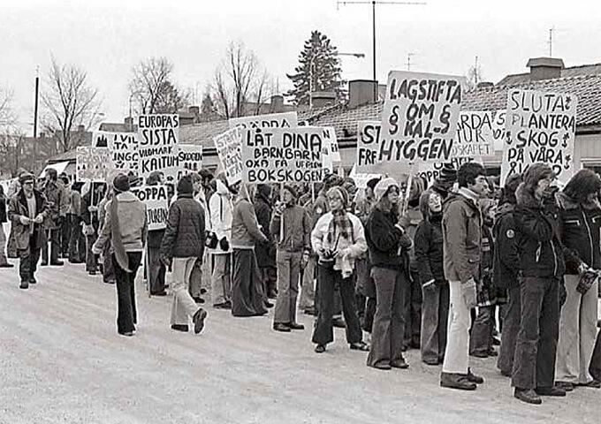 Protest mot kalhyggen. Foto Bertil Brunnegård.