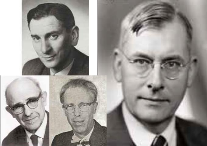 Porträtt av Bertil Lindquist, Lars-Gunnar Romell, Olof Langlet och Carl Malmström.