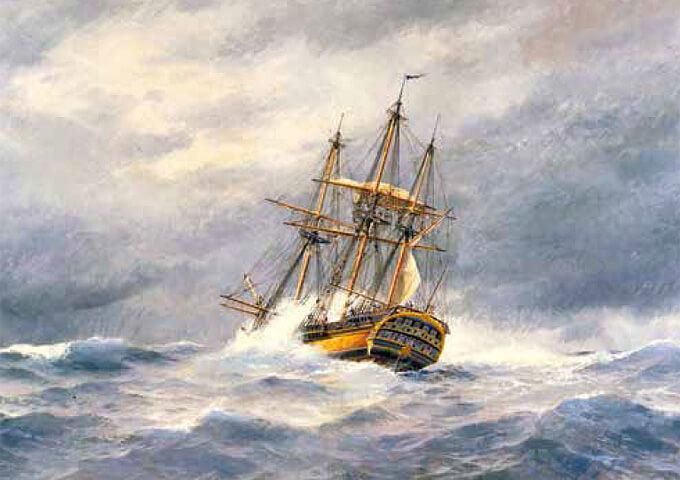 Ostindiefararen Finland målad av Jacob Hägg.