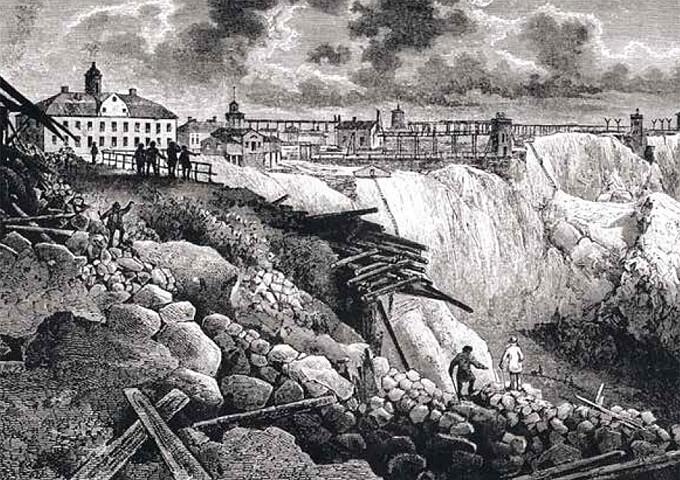Stora Kopparberget i Falun. Från Digitalt museum.