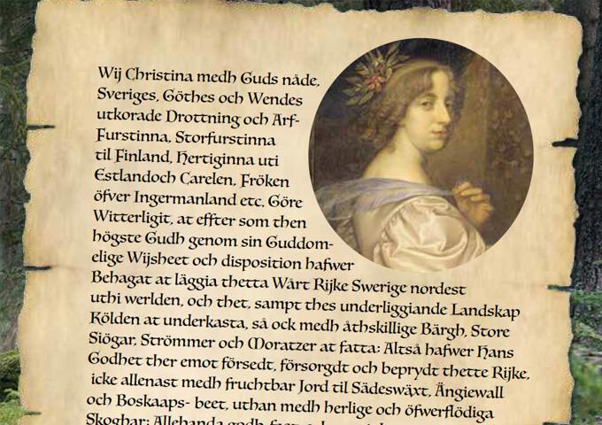Förordet till drottning Kristinas skogsförordning.