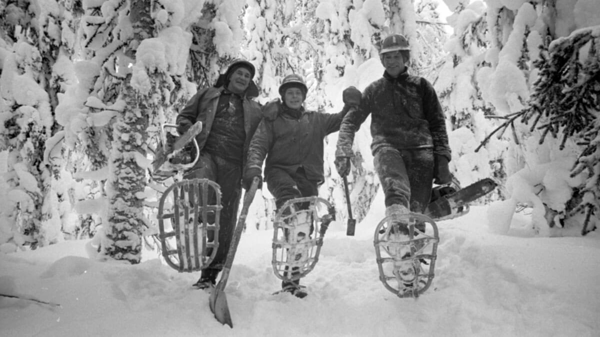Skogsarbete med snöskor i Främsta.