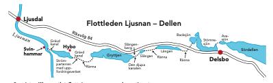Karta över flottleden Ljusnan-Dellen